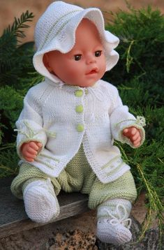 Knitted baby vest and cardigan - Knitting, Crochet Love Baby Born Clothes, Bitty Baby Clothes, Girl Doll Clothes, Baby Girl Patterns, Baby Clothes Patterns, Baby Knitting Patterns, Knitting Dolls Clothes, Crochet Doll Clothes, Knitted Dolls