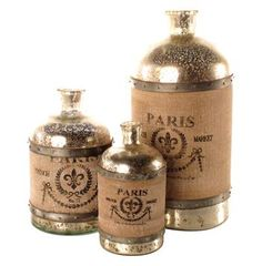 French Country Paris Wrapped Burlap Mercury Glass Bottle- Set of 3