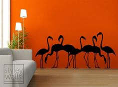 Flamingos Vinyl Wall Decal by styleywalls on Etsy, $49.00