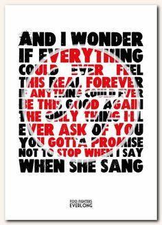 FOO FIGHTERS Everlong #1 - typography song lyric unframed poster art ltd edition print