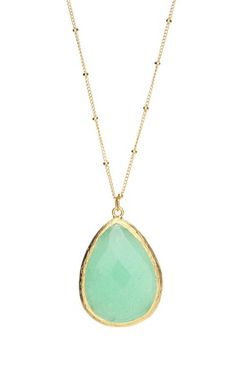 Luxe Group Sage Jade Teardrop Pendant Necklace