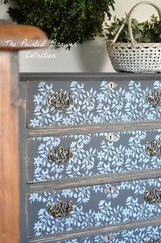 Graphite Stenciled Farmhouse Dresser2