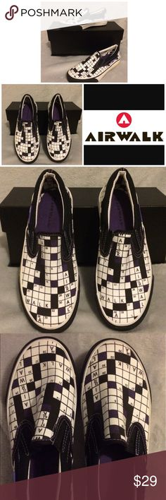 Airwalk Multicolor Crossword Canvas Shoes RARE Wow! Look at these rare AirwalkPurple multicolor (black, white and purple) crossword design slip on canvas shoes are in excellent pre-owned condition. Clean inner and outer soles. Interested? Like, share, bundle, buy! Airwalk Shoes Flats & Loafers