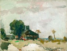 """""""Barn at Alexander,"""" Chauncey F. Ryder, 1910s, oil on board, 12 x 16"""", private collection."""