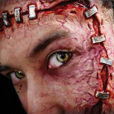 Staplestein FX Transfers, the easy and quick prosthetic appliance makeup that goes on with just water - Frankenstein staple prosthetic makeup Scary Makeup, Sfx Makeup, Makeup Looks, Tinsley Transfers, Prosthetic Makeup, Up Halloween, Costume Halloween, Special Effects Makeup, Fake Tattoos