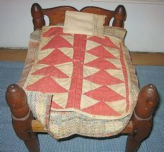 Antique Flying Geese Doll Quilt On Old Rope Bed, Penelope's Past Antiques