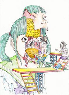 "Original drawing by Shintaro Kago ""Home visit"""