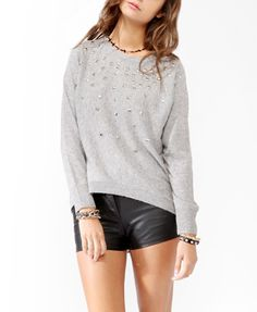 Grey studded pullover Studded Mélange Sweater | FOREVER 21 - 2044082560
