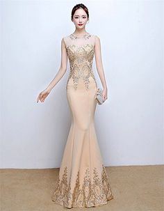 Drasawee Women Sexy Beaded Sequins Prom Wedding Party Dresses Long Mermaid Maxi Evening Formal Gowns Beige UK4