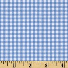 "Woven 1/8"" Carolina Gingham Periwinkle from @fabricdotcom  From Robert Kaufman Fabrics, this light weight woven yarn dyed gingham fabric is extremely versatile. It can be used to create stylish summer dresses, children's apparel and blouses. It can also be used to make tablecloths, curtains and even handkerchiefs. Checks measure 1/8''. Remember to allow extra yardage for pattern matching."