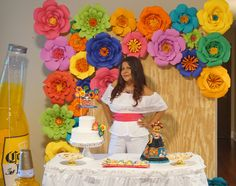 Backdrop con Flores de colores muy Mexicano