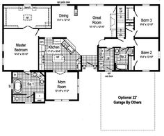 View our numerous modular home floor plans and elevations, like this Gemini. Mobile Home Floor Plans, Modern House Floor Plans, One Level House Plans, New House Plans, Modular Home Floor Plans, Ranch House Plans, Modular Homes, At Home Store, Little Houses