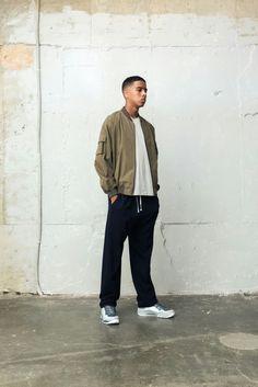 BERKHAN Double bomber jacket ma1 blouson string free hipster training pants and nike jordan superfly basketball shoes