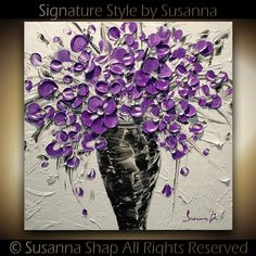 ORIGINAL Contemporary Purple Flowers Bouquet in Vase Thick Impasto Textured Oil Painting by Susanna Shap