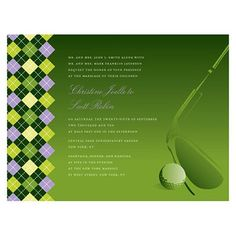 Formal Golf Wedding Invitations & RSVP Postcards- Green | Other ...