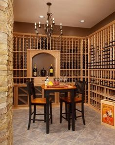 Awesome Wine Cellar..and A Table To Enjoy It On..good Idea