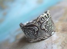 Angel Wings Ring in Recycled Fine Silver Rustic by HappyGoLicky, $72.00