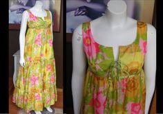 Vintage 1960s FLOWER POWER Op Art Bright Floral Print Maxi Dress Sundress Lace-up Bodice Pink Green Yellow Hippie Prairie Dress by WestCoastVintageRSL, $88.00