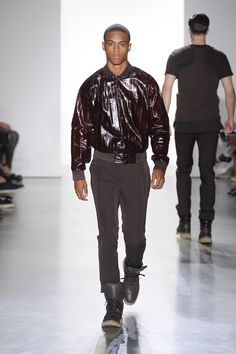 Paneled baseball jacket from the men's Spring 2015 Calvin Klein Collection.