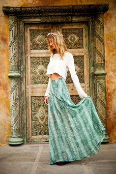 Maxi Skirt with a crop top. very trendy for the summer season