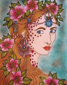 Sommarnatt de Hanna Karlzon.  Colorié aux crayons de couleurs Polycolor 72 Estompé à l'essence sans odeur  Fond pastel sec.