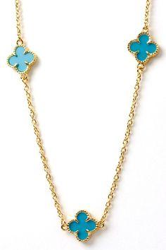 """Bansri lucky clover necklace 41"""""""