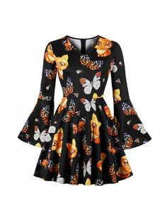 d7c37256b7f7 Dresswel Women Round Neck Trumpet Sleeves Floral Print Fit and Flare Dress  Pullover Basic Mini Dress