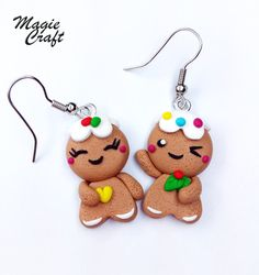 Fimo earrings gingerbread men, gingerbread man cookies Polymer clay earrings