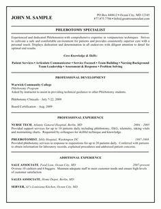 resume objectives for a phlebotomist sample phlebotomist resume