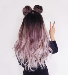 purple hair color | long hairstyle | double top knots | loose | waves | curls | ombre | silver | dark | brown