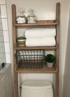Over The Toilet Ladder Shelf Choose Color And Width Of Shelf