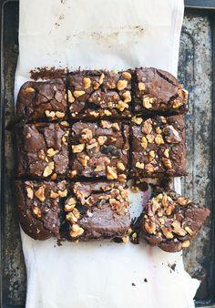 Walnut Brownies with Flaky Sea Salt