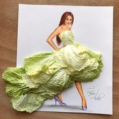 Dress made of Chinese cabbage by Edgar ARtis Dress Design Sketches, Fashion Design Drawings, Fashion Sketches, Arte Fashion, 3d Fashion, Unique Drawings, Illustration Mode, Illustrations, Stylish Dress Designs