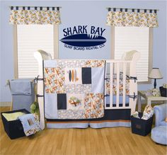 Surf Board Wall Decal - Personalized Name Vinyl Wall Decals Boy Girl Teen Room Wall Decals Surfing Sharks Ocean 19H x 36W Wall Art FS224. $42.00, via Etsy.