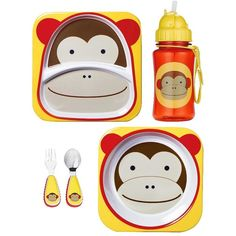 Skip Hop Zoo Plate, Bowl, Straw Bottle and Utensil Set Bundle Monkey ($22) ❤ liked on Polyvore featuring baby and baby stuff