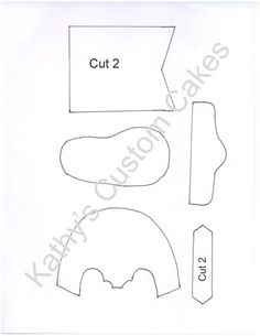 Baby Cowboy Boot Template - Here is the template I created.  I am no professional and this is very imperfect.  You may have to trim in some places and stretch your gumpaste in other places to make it work for you.  You will also need to stuff the toes with cotton to hold the shape of the boot front.  I used an 8 1/2 by 11 piece of paper for this so you might have to enlarge it to that size.  I added a picture of the finished product to the additional photos as well as the finished cake in my ...