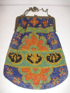 Beautiful Antique French Beaded Purse Bag | eBay