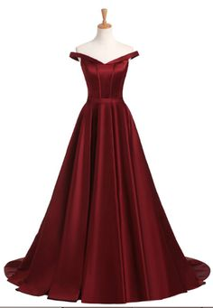 Off Shoulder Burgundy Long Prom Dress, Elegant A