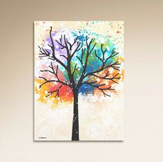 Colorful Tree Painting Abstract Wall Decor for Office or Home, Tree of Life Canvas Art Original Painting This colorful ORIGINAL tree painting on