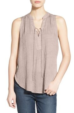 Lush Lace-Up Sleeveless Henley Top available at #Nordstrom