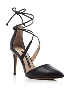 FRENCH CONNECTION Elise Pointed Toe Lace Up Pumps