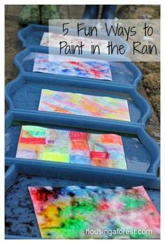 5 Fun Ways to Paint in the Rain ~ the kids love this experiment