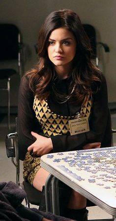 Aria's yellow triangle/geo print top on Pretty Little Liars.  Outfit details: http://wornontv.net/12873/