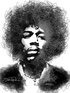 Jimi Hendrix sketch pen portrait Art Print by Mihaela Pater Musik Illustration, Jimi Hendrix Experience, Notebooks For Sale, Tinta China, Music Artwork, Thing 1, Art Pages, Celebrity Portraits, Portrait Art