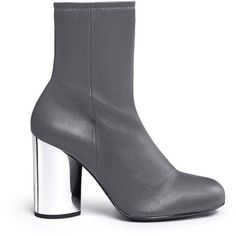 Opening Ceremony Zloty metallic heel leather mid calf boots ($450) ❤ liked on Polyvore featuring shoes, boots, grey mid calf boots, grey leather boots, slip on boots, leather boots and grey boots