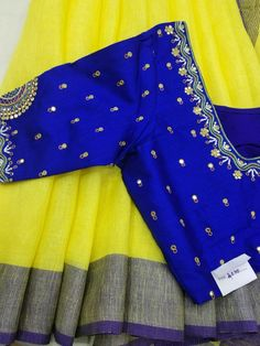 Pure linen saree with designer blouse what's app 9047099885 - blouse designs for pin Salwar Neck Designs, Saree Blouse Neck Designs, Bridal Blouse Designs, Kurta Designs, Simple Blouse Designs, Simple Designs, Designer Blouse Patterns, Designer Dresses, Maggam Work Designs
