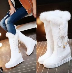 Women Winter Pull On Fur Top Mid Calf Boots Hidden Wedge Heel Platform Shoes - Boots - Womensshoes Girls Knee High Boots, High Heel Boots, Girls Shoes, Heeled Boots, Shoes Women, High Shoes, Boots For Women, Shoes Heels Boots, Dr Shoes