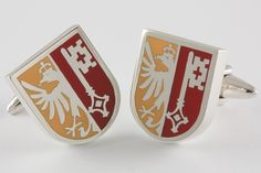 Geneva Crest Cufflinks, handcrafted from Sterling Silver .925, personalized