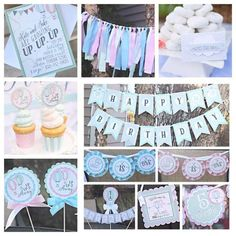 Up Up and Away / Hot Air Balloon Birthday Party Decorations. 11 piece box.  1st / First Birthday / Twin.  Pink, Blue, Mint Green decor. by CharmingTouchParties on Etsy