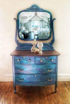 SOLD/ Mermaid / Northern lights / peacock dresser / bathroom vanity SOLD/ Mermaid / Northern l Funky Furniture, Refurbished Furniture, Paint Furniture, Repurposed Furniture, Furniture Projects, Furniture Making, Furniture Makeover, Vintage Furniture, Bedroom Furniture